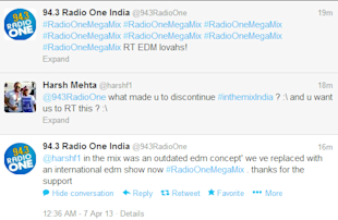 94.3 Radio One India Blocks Users On Twitter For Questioning The Closure Of Their Favourite EDM Show image Harsh RadioOne tweets