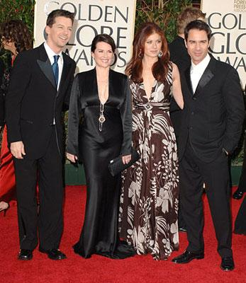 Sean Hayes, Megan Mullally, Debra Messing and Eric McCormack 63rd Annual Golden Globe Awards - Arrivals Beverly Hills, CA - 1/16/05