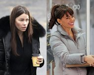 "Left: A bare-faced Sofia on her way to get her hair and make-up done. Right: Sofia emerges looking polished and glam on the set of ""New Year's Eve."" [Pacific Coast News]"