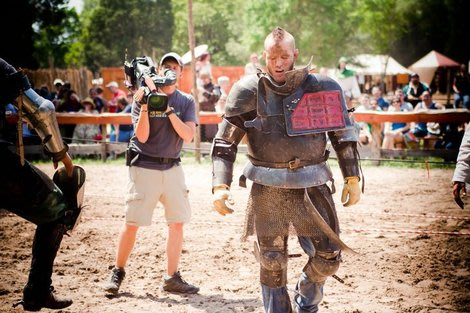 Jake Paul, professional Jouster, being filmed at the Sherwood Forest Faire Tournament.