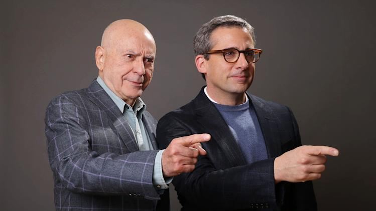 "In this Monday, March 11, 2013 photo, Alan Arkin, left, and Steve Carell pose for a portrait for the film, ""The Incredible Burt Wonderstone,"" at the Hotel Amarano, in Los Angeles.  The two actors lit up an empty suite at a hotel down the street from Warner Bros. studios with their warm rapport, reminiscing about working together on ""Wonderstone"" and their past projects, ""Get Smart"" and ""Little Miss Sunshine"" (for which Arkin won the supporting actor Oscar).  (Photo by Eric Charbonneau/Invision/AP)"