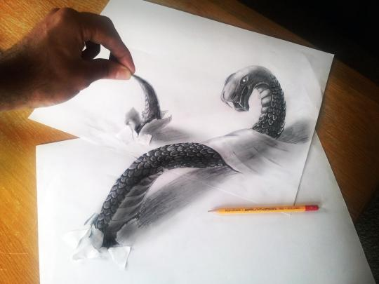 An addition of a real-life hand makes Ramon's drawings look even more three-dimensional (Ramon Bruin)