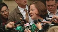 Premier Alison Redford speaks to reporters after s meeting with B.C. Premier Christy Clark on Monday.