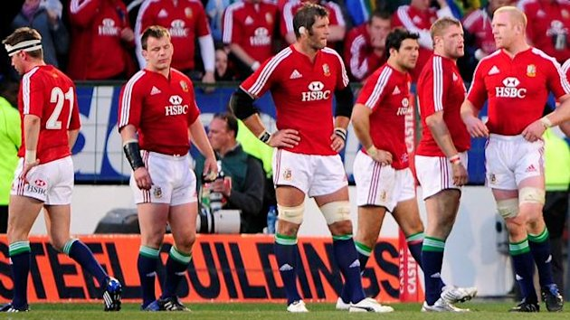 British and Irish Lions team react in the last moments against South Africa in their international rugby test match at the Loftus Versfeld stadium in Pretoria