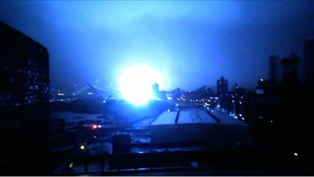 This image from video provided by Dani Hart shows what appears to be a transformer exploding in lower Manhattan as seen from a building rooftop from the Navy Yard in Brooklyn during Sandy's arrival in