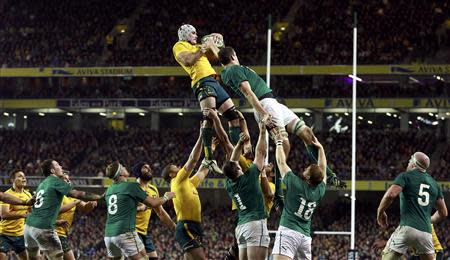 Ireland's Toner challenges Australia's Mowen in the line out during their International rugby union match in Dublin