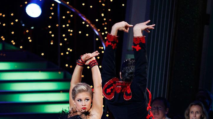"Shawn Johnson and Mark Ballas perform the Paso Doble to ""Gotta Get thru This"" by Daniel Bedingfield on ""Dancing with the Stars."""