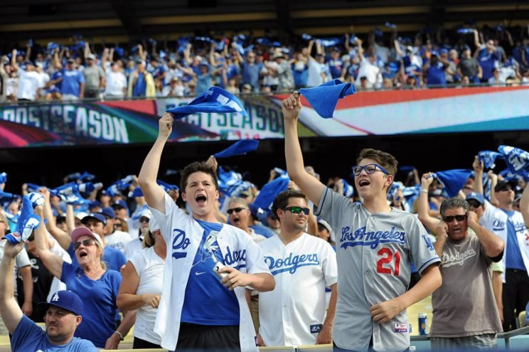 Dodger fans during Game 1 of the National League Division Series against the Cardinals at Dodger Stadium Friday October 3, 2014. (Photo by Hans Gutknecht/Los Angeles Daily News)