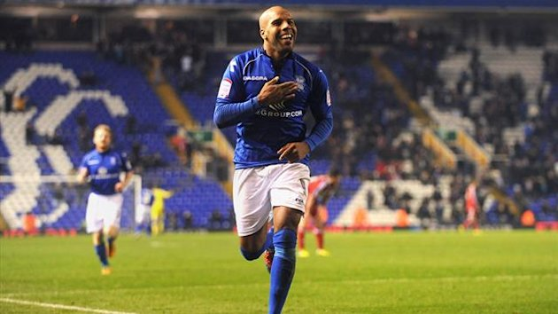 Birmingham City's Marlon King celebrates scoring his second goal against Middlesbrough on November 30