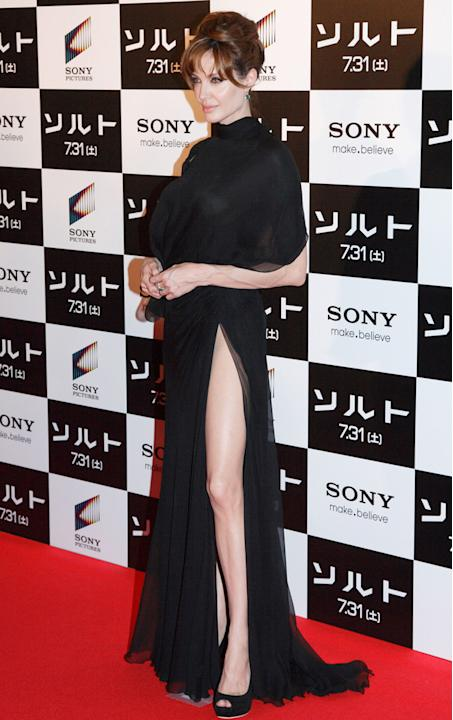 Angelina also flashed a lot of leg at the Salt premiere in Tokyo in July 2010 / Rex