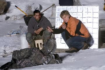 Michael Pena and director Robert Redford on the set of United Artists' Lions for Lambs