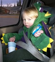 A little monster in the car