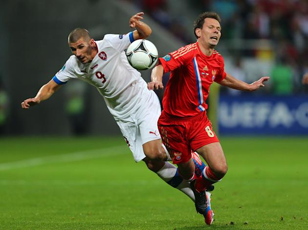 Konstantin Zyryanov Of Russia And Jan Rezek Of Czech Republic Clash Getty Images