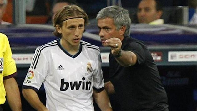 Luca Modric and Jose Mourinho