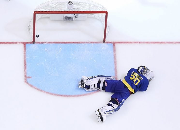 TORONTO, ON - SEPTEMBER 25: Henrik Lundqvist #30 of Team Sweden reacts after allowing the overtime winning goal to Team Europe during the World Cup of Hockey semifinal game at Air Canada Centre on September 25, 2016 in Toronto, Ontario, Canada. (Photo by Andre Ringuette/World Cup of Hockey via Getty Images)