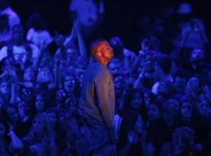 "Kanye West performs ""Blood on the Leaves"" during the 2013 MTV Video Music Awards in New York"