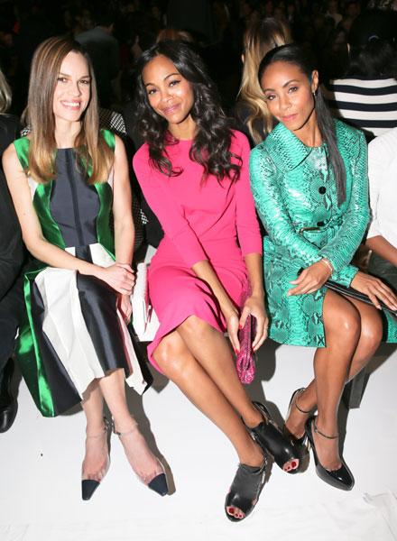 Hilary Swank, Zoe Saldana and Jada Pinkett Smith Michael Kors Image © Rex