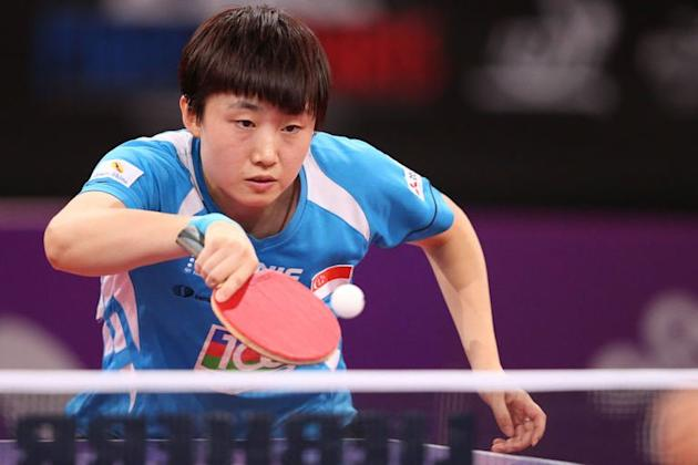 Singapore's Feng Tianwei plays at the World Table Tennis Championships in Paris on May 17, 2013