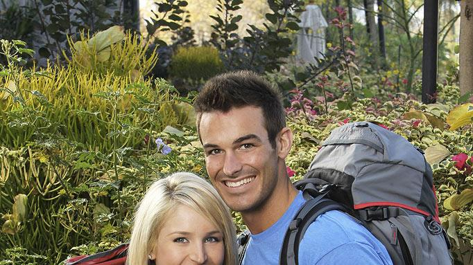 "Amanda Blackledge and Kris Klicka, Engaged, race around the world for a second chance to win one million dollars, on ""The Amazing Race: Unfinished Business."""
