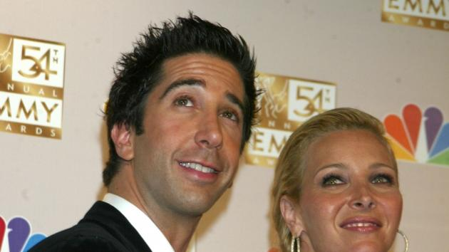 David Schwimmer and Lisa Kudrow at the 54th Annual Emmy Awards, September 22, 2002 -- Getty Premium