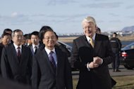Iceland's President Olafur Ragnar Grimsson (R) speaks with China's Prime Minister Wen Jiabao (C) as he arrives at Bessastadir, the Presidential residence, in Reykjavik, Iceland on April 20. China and Iceland have a partnership, through the Orka Energy and Sinopec companies, to develop geothermal energy in China