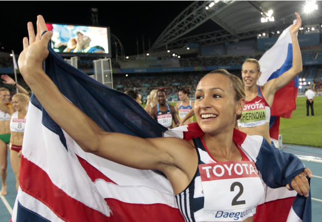 Britain's Jessica Ennis  celebrates after taking silver in the Heptathlon following the 800m at the World Athletics Championships in Daegu, South Korea, Tuesday, Aug. 30, 2011. (AP Photo/David J. Phil