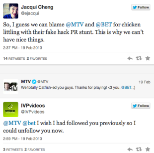 We Got Hacked! Social Media's Security Issue…or PR Stunt? image mtv reaction