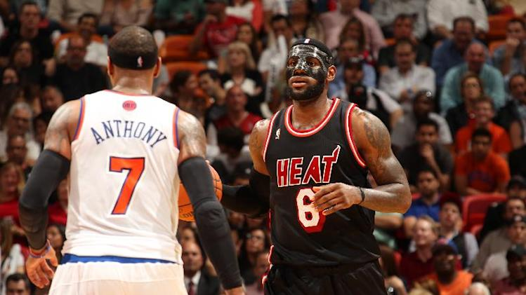 James scores 31 in a mask, Heat roll Knicks 108-82