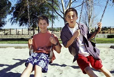 "Reese (Justin Berfield, L) and Malcolm (Frankie Muniz, R) hang out at the water park in the ""Water Park"" episode of Fox's Malcolm In The Middle"