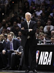 SAN ANTONIO, TX - APRIL 23: Head coach Gregg Popovich of the San Antonio Spurs watches as his team is defeated by the Dallas Mavericks in Game Two of the Western Conference Quarterfinals during the 2014 NBA Playoffs at the AT&T Center on April 23, 2014 in San Antonio, Texas. NOTE TO USER: User expressly acknowledges and agrees that, by downloading and/or using this photograph, user is consenting to the terms and conditions of the Getty Images License Agreement. (Photo by Chris Covatta/Getty Images)