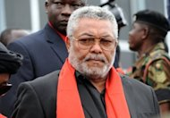 File picture. Former president Jerry Rawlings of Ghana arrives to pay his last respects to late president John Atta Mills on August 8, 2012. There is speculation over whether Rawlings, the former coup leader turned president and national icon, is seeking to restore what some see as his waning influence.