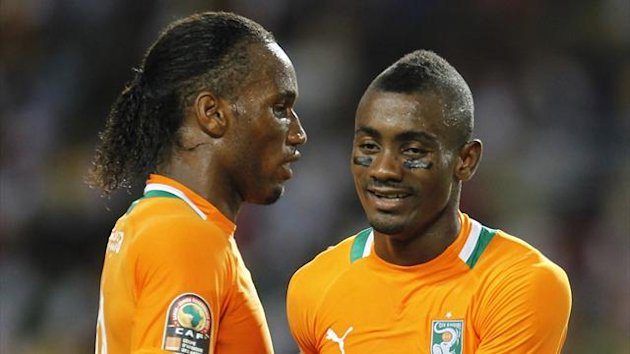 Ivory Coast's Didier Drogba with Salomon Kalou
