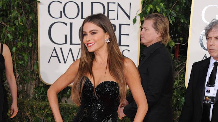 Actress Sofía Vergara arrives at the 70th Annual Golden Globe Awards at the Beverly Hilton Hotel on Sunday Jan. 13, 2013, in Beverly Hills, Calif. (Photo by Jordan Strauss/Invision/AP)