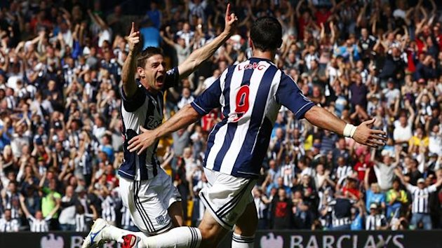 West Bromwich Albion's Gera celebrates his goal against Liverpool
