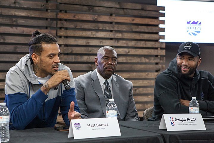 Kings players Matt Barnes (left) and DeMarcus Cousins (right) joined former Sacramento Sheriff Dwight Pruitt in the discussion. (NBA.com/Kings)