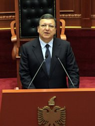Outgoing European Commission President Jose Manuel Barroso speaks at the Albanian Parliament during his visit to Tirana Monday, June 30, 2014. Albania was granted candidate status from the EU bloc last week. (AP Photo/Hektor Pustina)