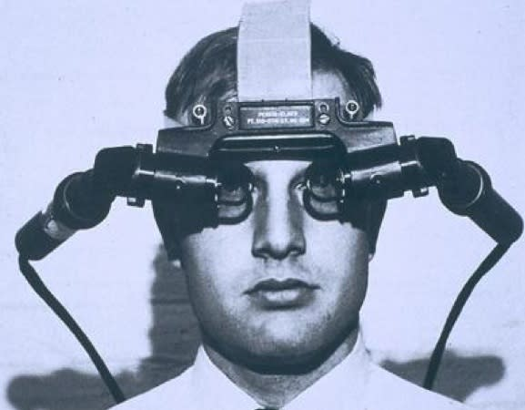 THE SWORD OF DAMOCLES -- Ivan Sutherland kicked off interest in VR in 1968, when he created the first VR head-mounted display system. Dubbed 'The Sword of Damocles' due to its intimidating appearance, the device had to be attached to a mechanical arm to track head movements and was partially see-through, unlike future VR headsets.