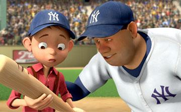 Yankee Irving (voiced by Jake T. Austin ) meets Babe Ruth (voiced by Brian Dennehy ) in 20th Century Fox's Everyone's Hero