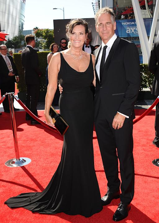 From left, Chelsea Field and Scott Bakula arrive at the 2013 Primetime Creative Arts Emmy Awards, on Sunday, September 15, 2013 at Nokia Theatre L.A. Live, in Los Angeles, Calif. (Photo by Scott Kirkl