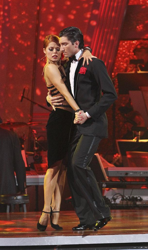 Anna Trebunskaya and Evan Lysacek perform a dance on the 10th season of Dancing with the Stars.