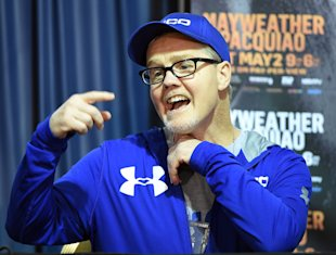 Manny Pacquiao's trainer Freddie Roach speaks during a news conference Thursday. (Getty)