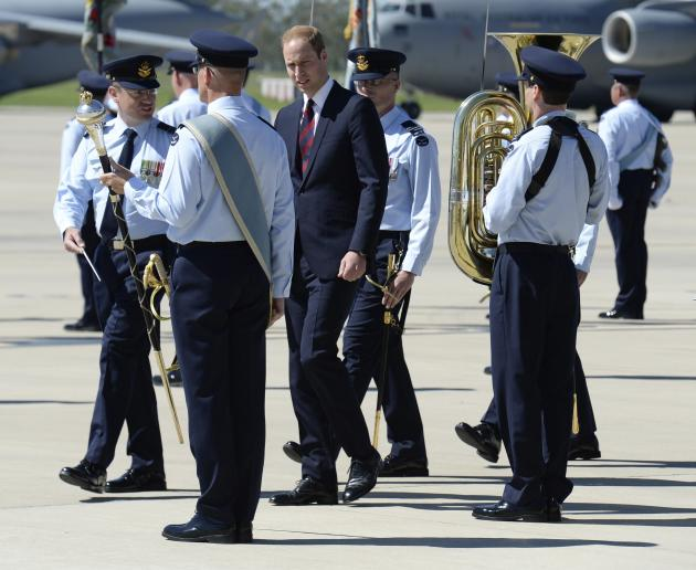 Prince William, the Duke of Cambridge inspects the guard after arriving at Royal Australian Air Force Base Amberley near Brisbane