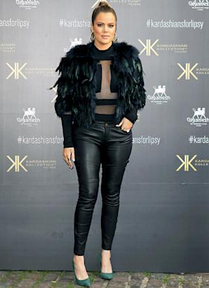 Khloe Kardashian Rocks Sexy Sheer Top, Leather Pants, Slicked-Back Hair: Picture