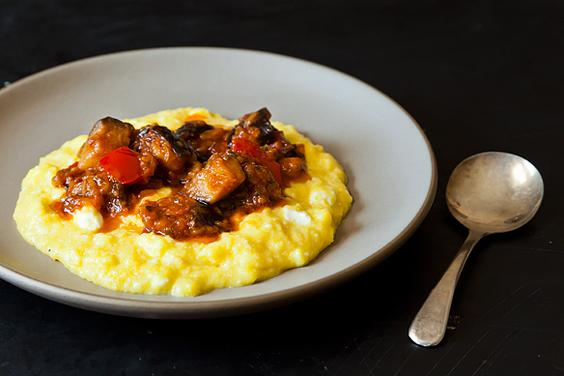 Sweet Corn Polenta with Eggplant Sauce