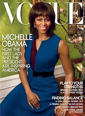 This cover image released by Vogue shows first lady Michelle Obama on the cover of the April 2013 issue of Vogue. The issue is available on newsstands on March 26. (AP Photo/Vogue, nnie Leibovitz)