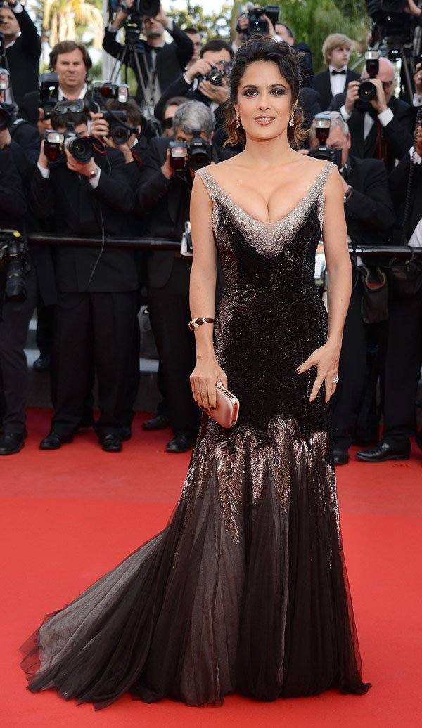 Salma Hayek Flaunts Her Ample Cleavage In Cannes