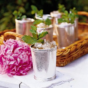 The Classic Mint Julep is served in silver julep cups.