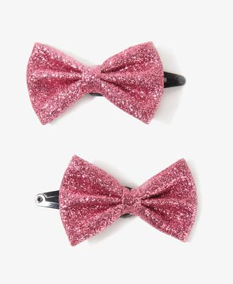 Glittered Bow Hair Clips