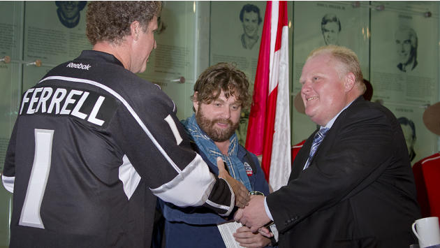 Toronto Mayor Rob Ford, right, handed out material from his 2010 election campaign to movie stars Will Ferrell and Zach Galifianakis.