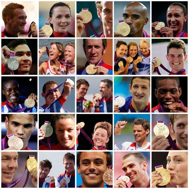 A combination picture shows a selection of British athletes with their medals at the London 2012 Olympic Games